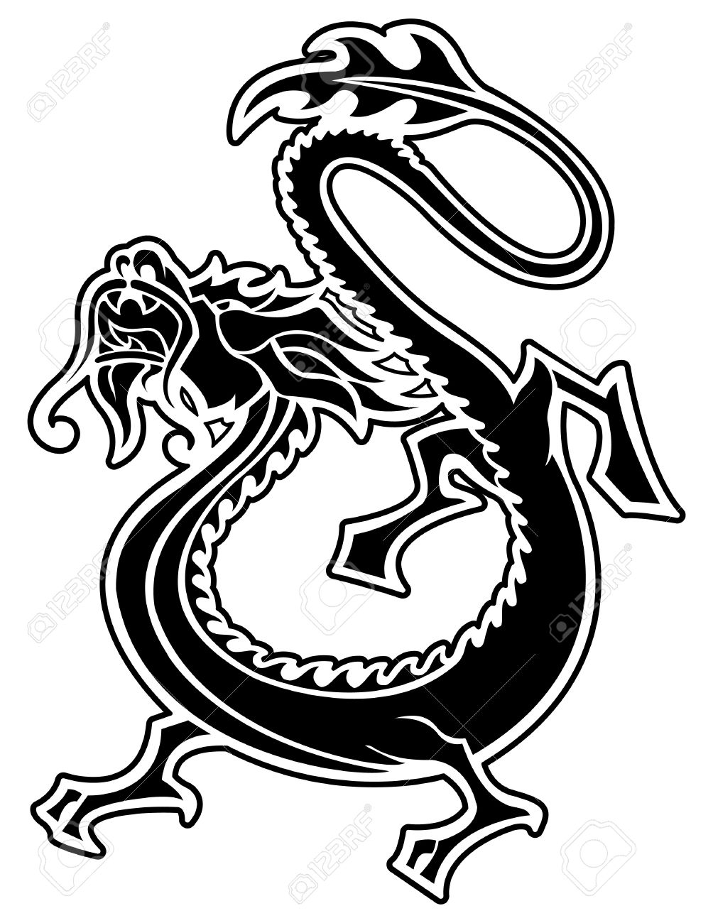 1004x1300 Vector Chinese Dragon Tattoo Royalty Free Cliparts, Vectors,