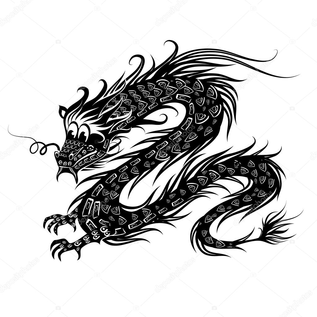 1024x1024 Black Chinese Dragon Stock Vector Oksana