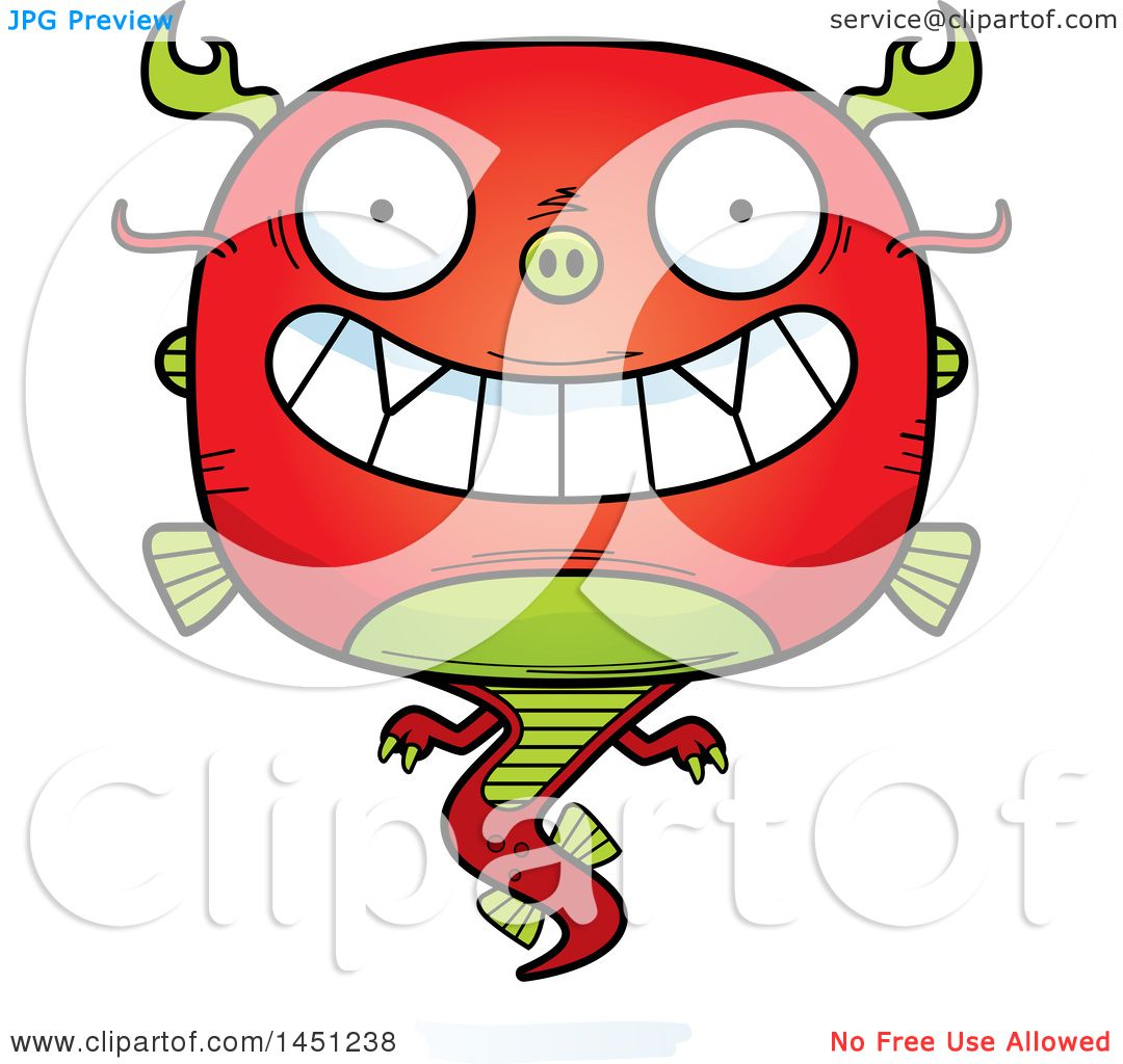 1080x1024 Clipart Graphic Of A Cartoon Grinning Chinese Dragon Character