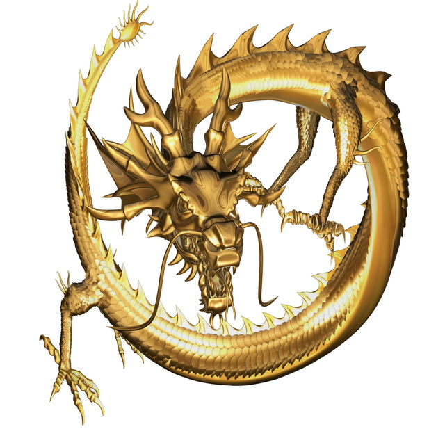 640x640 Golden Dragon 3d Model Maya Files Free Download