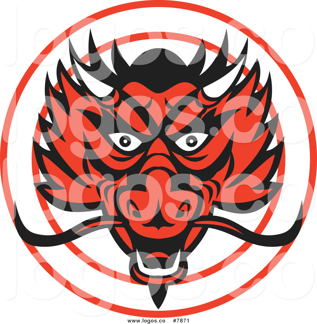 1024x1044 Royalty Free Clip Art Vector Red Chinese Dragon Head Logo By