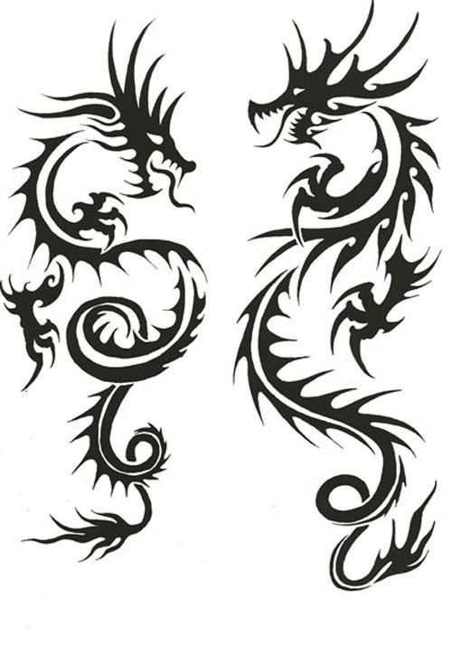 500x714 Awesome Black Tribal Two Dragons Tattoo Stencil
