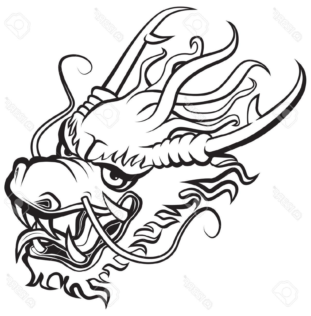 1280x1300 Unique Japanese Dragon Head Outline Vector Design Free Vector