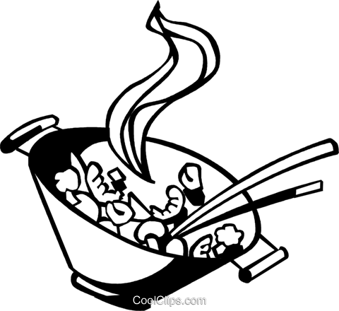 480x440 Chinese Food Clipart Black And White