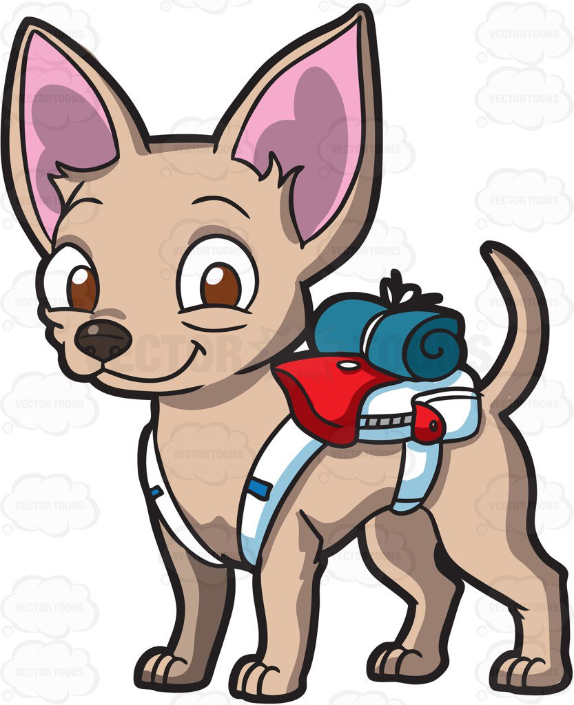 833x1024 A Tiny Chihuahua Carrying A Backpack And Camping Cloth Cartoon