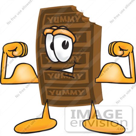 450x450 Clip Art Graphic Of A Chocolate Candy Bar Mascot Character Flexing