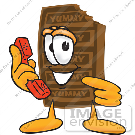 450x450 Clip Art Graphic Of A Chocolate Candy Bar Mascot Character Holding
