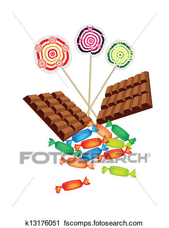 349x470 Clipart Of Chocolates, Lollipops And Hard Candy On White