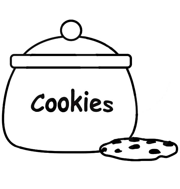 600x627 Jar Of Chocolate Chip Cookie Colouring Page Fun