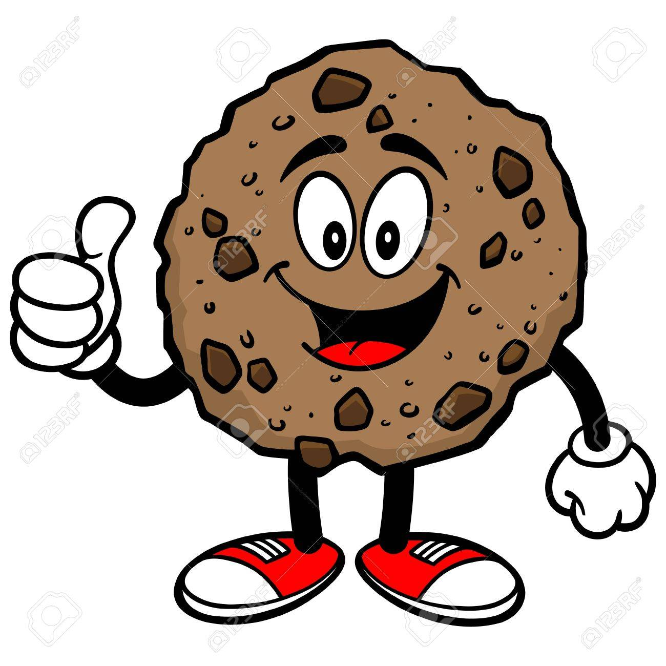 1300x1300 Chocolate Chip Cookie With Thumbs Up Royalty Free Cliparts