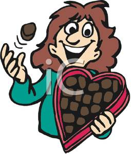 255x300 Art Image A Woman Eating From A Box Of Valentine Chocolates