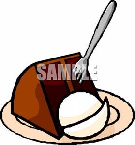 279x300 Slice Of Chocolate Cake And Vanilla Ice Cream Clipart Image