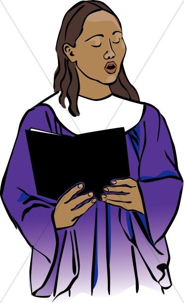 372x612 Choir Singer In Purple Robe Church Choir Clipart