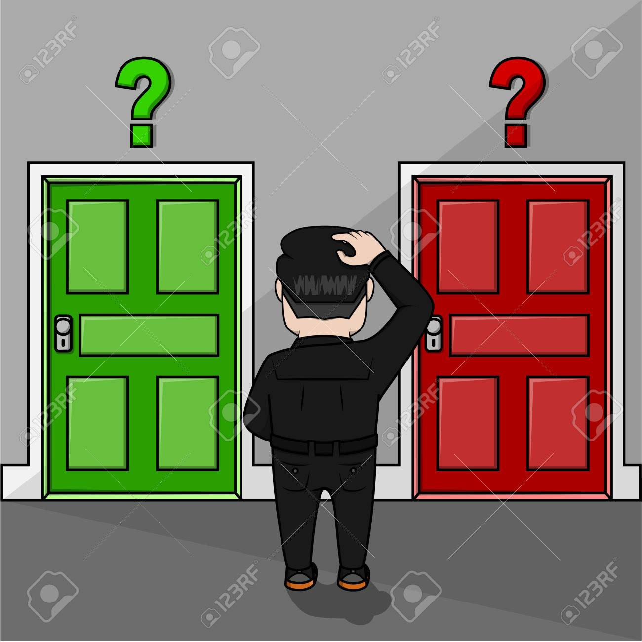 1300x1300 Business Man Confused To Choose A Door Royalty Free Cliparts