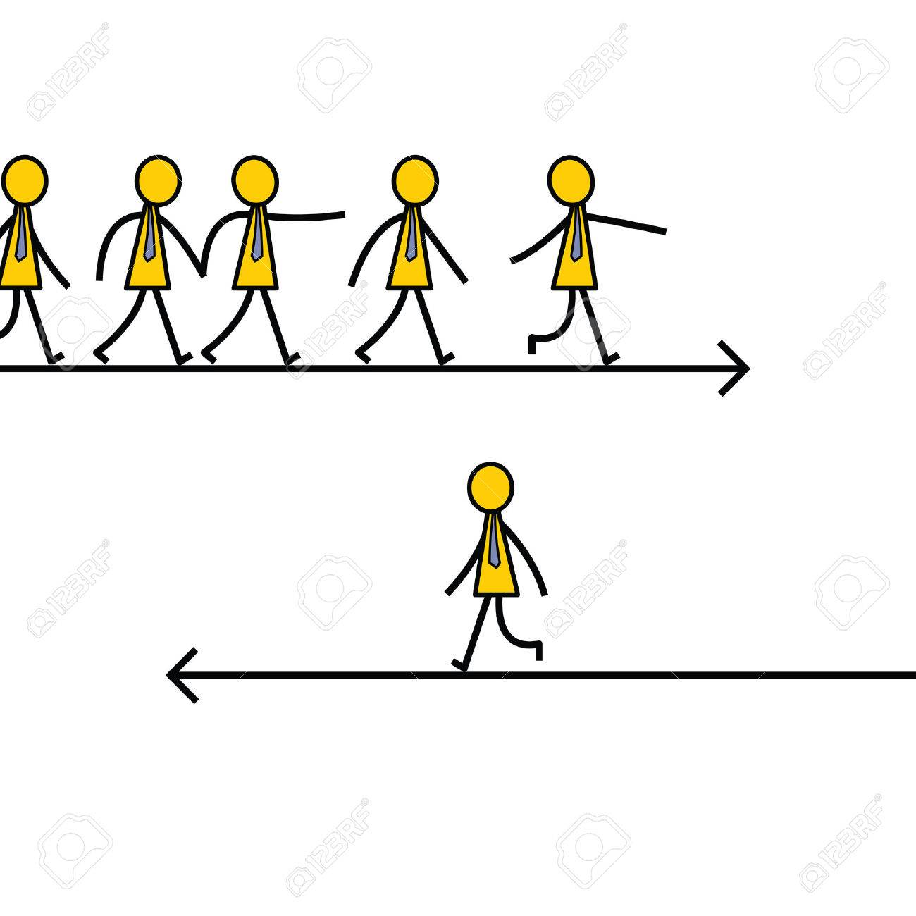 1300x1300 Businessman Choose And Walk On Different Direction From Other