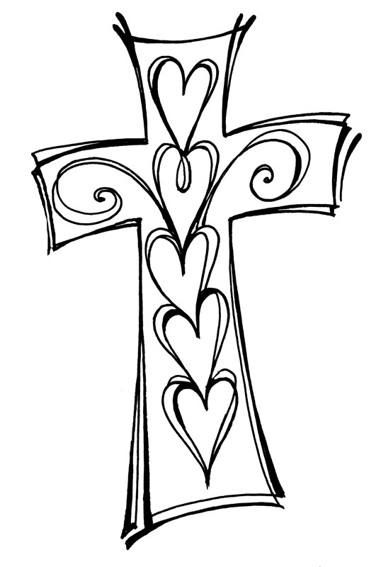 538x800 Cross And Swirls Black And White Christian Clipart