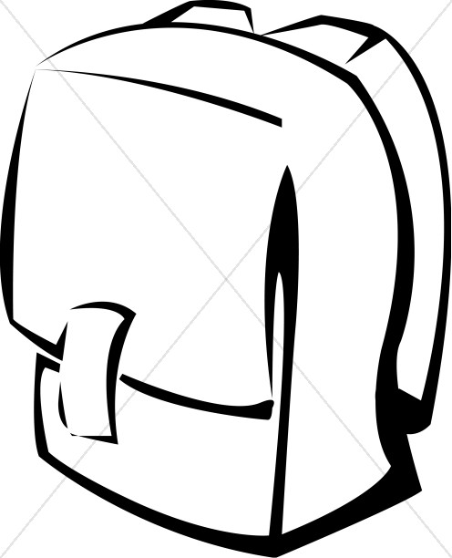 496x612 Bookbag Black And White School Backpack Christian Clipart
