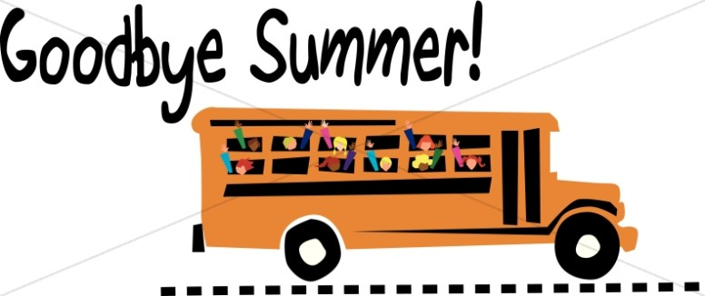 776x326 Goodby Summer School Bus Christian Education Word Art Clipart