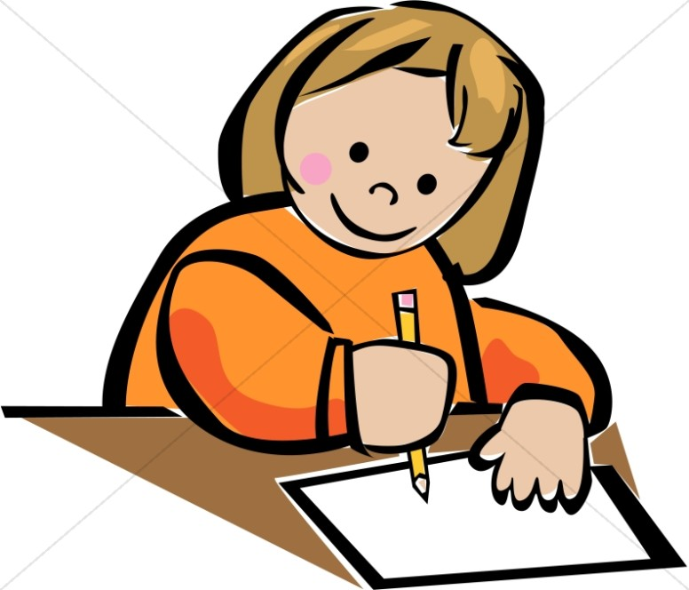 776x664 Young Girl Writing Clipart