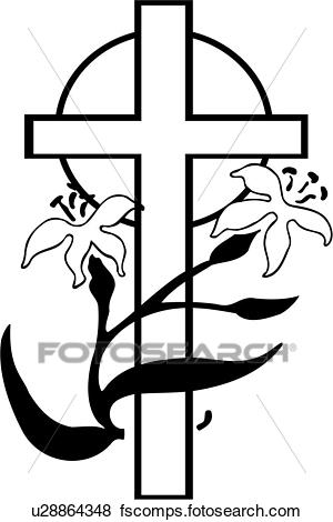 300x470 Clip Art Of , Christianity, Cross, Easter, Holiday, Lily, Religion