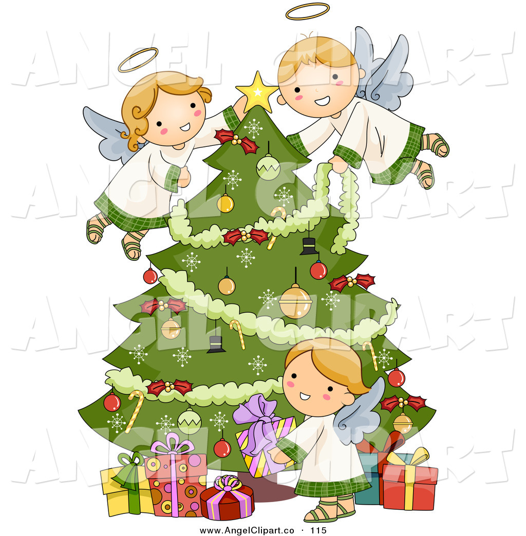 angel angels christmas clipart tree cartoon cherub clip clipartmag cliparts cherubs adorable three clipground