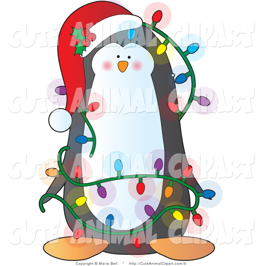 1024x1044 Clip Art Of A Cute Christmas Penguin Decked Out In Lights By Maria