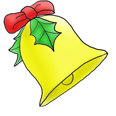 236x236 Christmas Bell With Holly Christmas Free Clipart