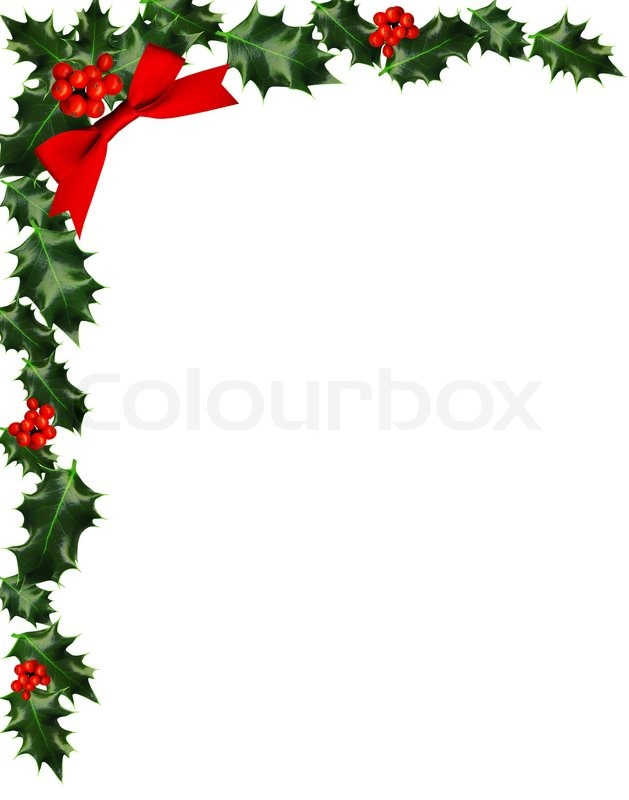 629x800 Holly With Berries Border, Copy Space Stock Photo Colourbox