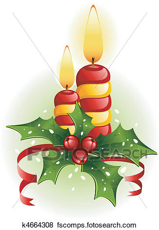 326x470 Clip Art Of Christmas Candles And Holly K4664308