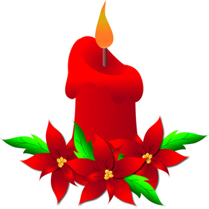 300x299 Free Christmas Candle Clip Art Image