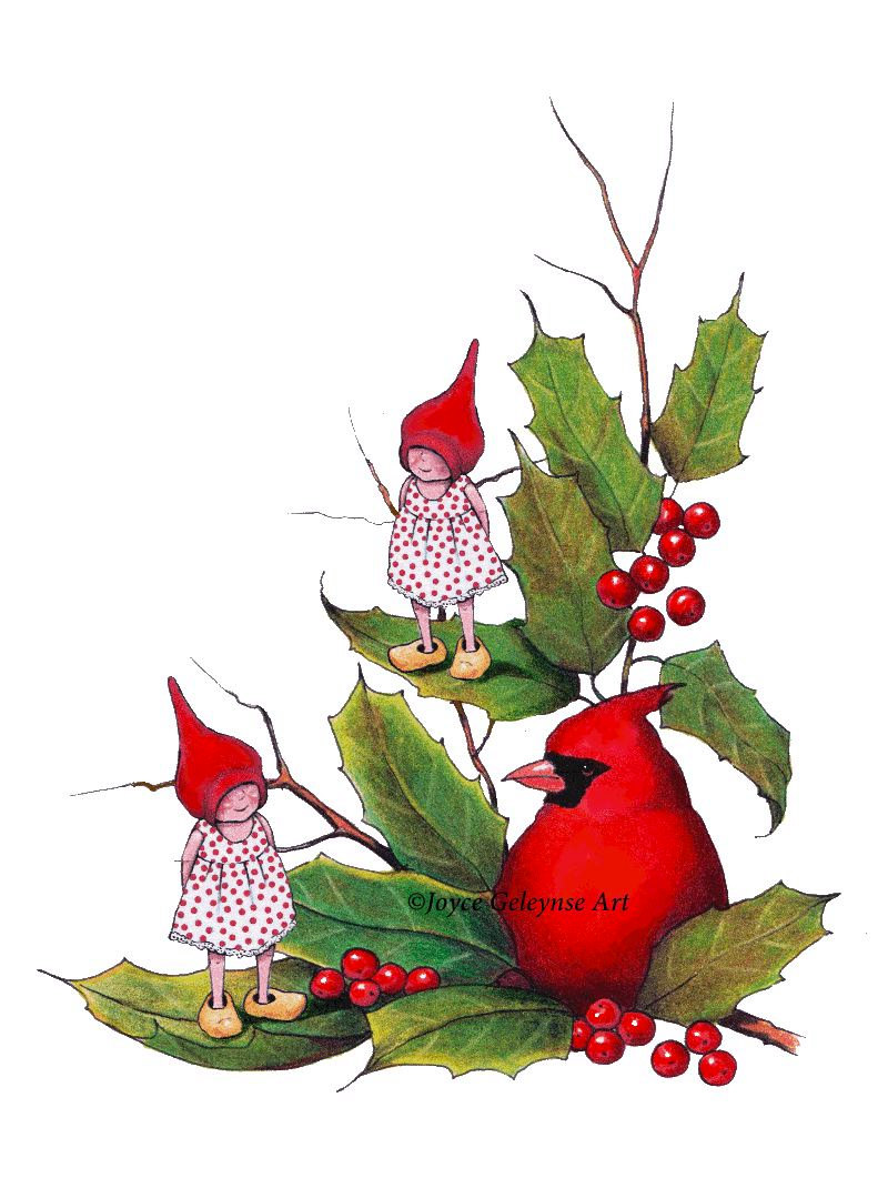 800x1061 Printable Christmas Clip Art, Gnomes With Cardinal Bird, Holly