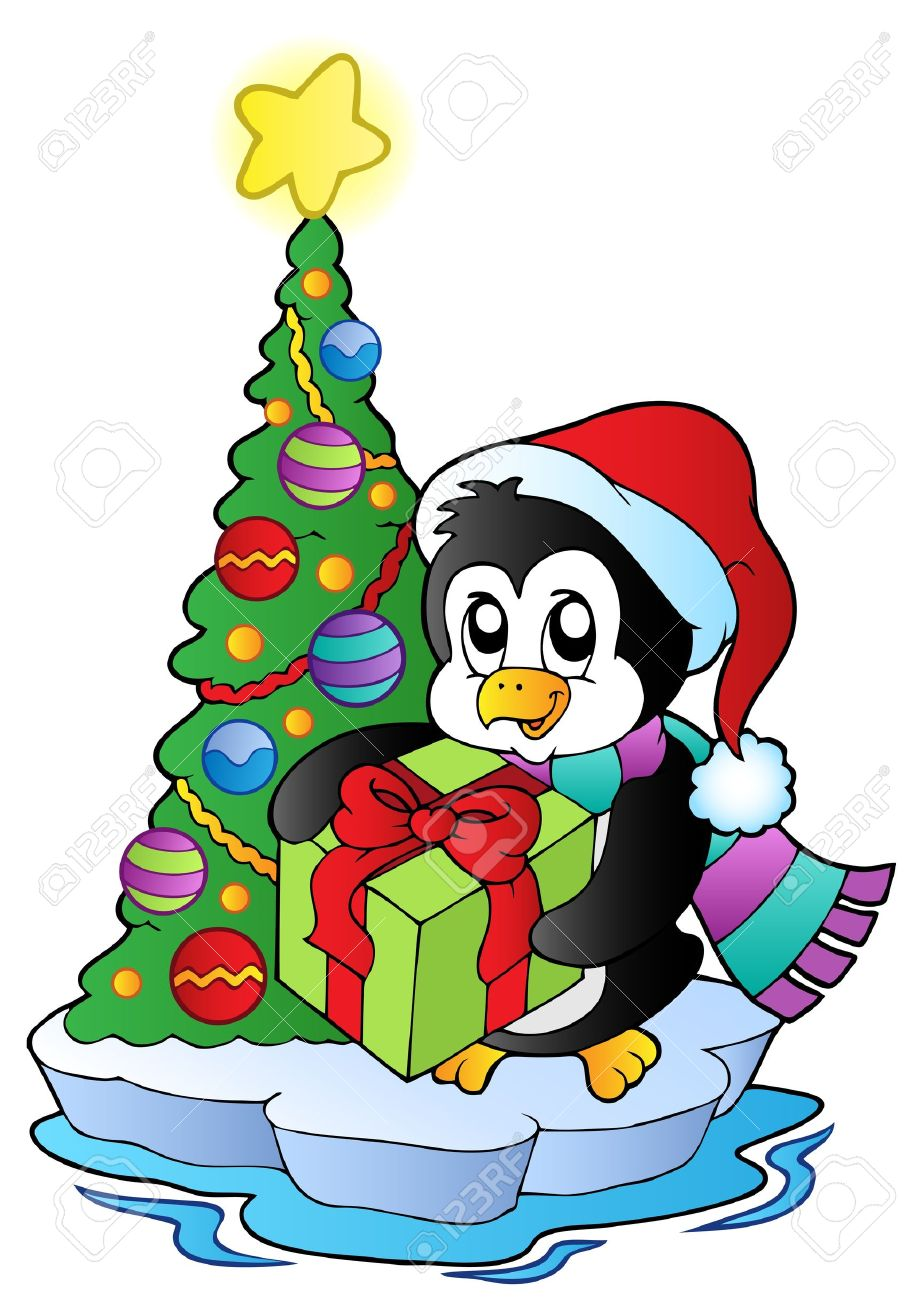 921x1300 Cartoon Penguin With Christmas Tree