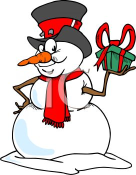 272x350 Cartoon Of A Crafty Snowman Holding A Christmas Present