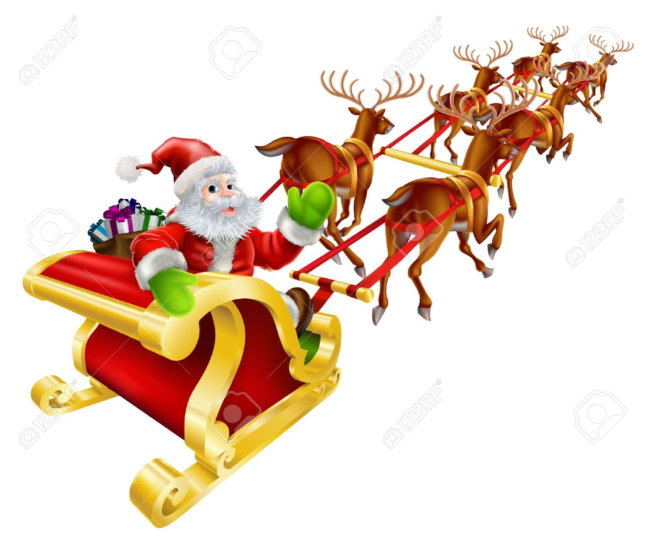1300x1118 Christmas Illustration Of Cartoon Santa Claus Flying In His Sled