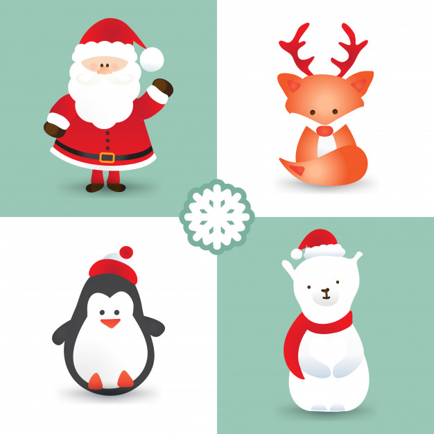 626x626 Christmas Cartoon Characters Like Santa Claus, Fox With Reindeer