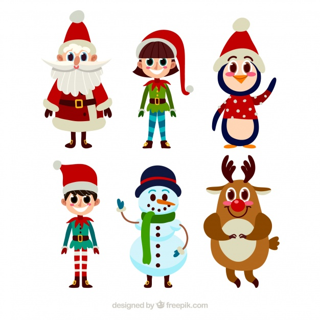 626x626 Collection Of Typical Christmas Characters In Cartoon Style Vector