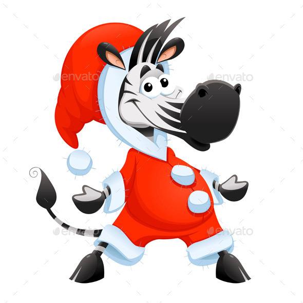 590x590 Christmas Cartoon Zebra Character By Ddraw Graphicriver