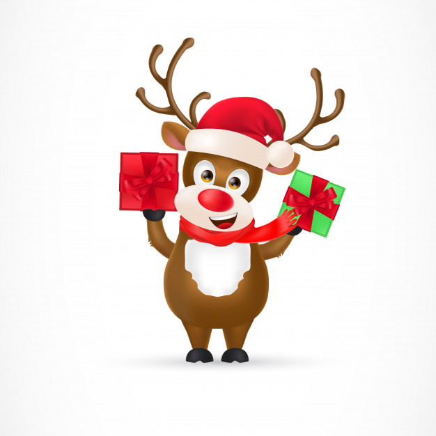 626x626 Christmas Reindeer Cartoon Character Vector Free Download