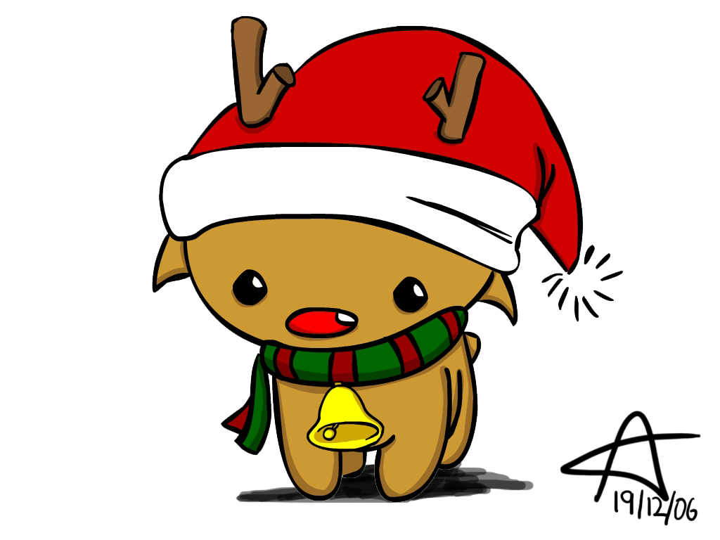 1024x768 Christmas Reindeer By Gnahz