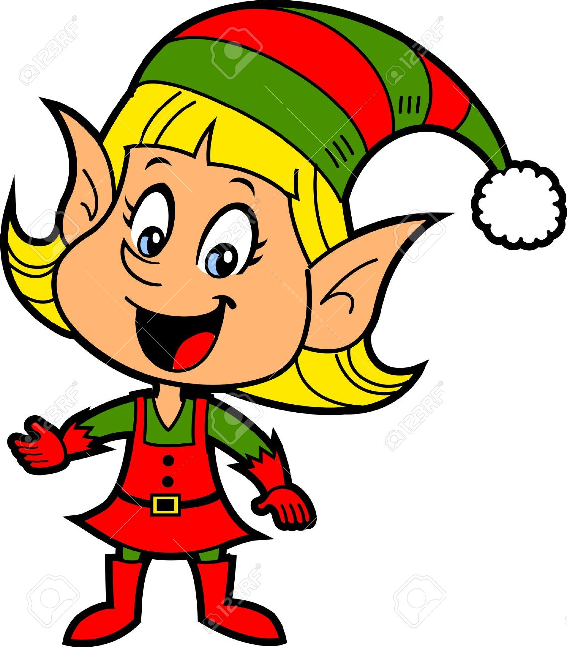 1138x1300 Happy Smiling Blonde Girl Christmas Santa's Elf Royalty Free