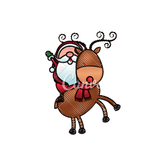 550x550 Santa Riding A Reindeer In Christmas Cartoon