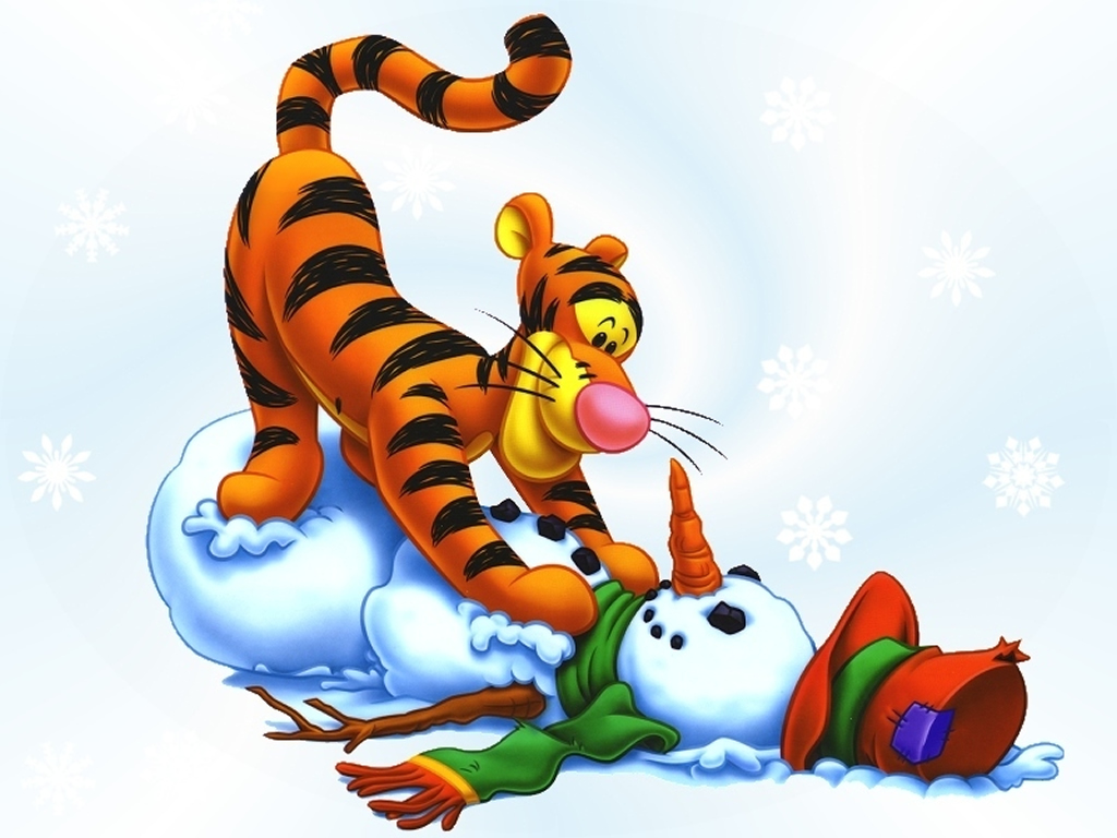 1024x768 Tigger And A Snowman Christmas Wallpaper Christmas Cartoons