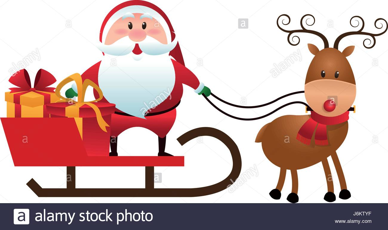 1300x771 Christmas Santa Claus Reindeer Sledge Gifts Cartoon Stock Vector