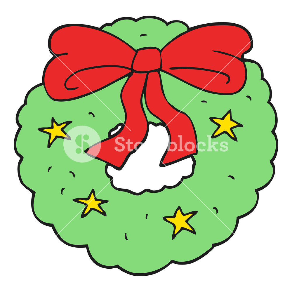 1000x1000 Freehand Drawn Cartoon Christmas Wreath Royalty Free Stock Image