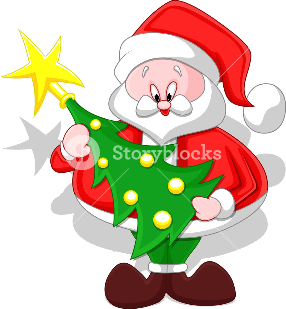 927x1000 Cartoon Santa With Christmas Tree Royalty Free Stock Image