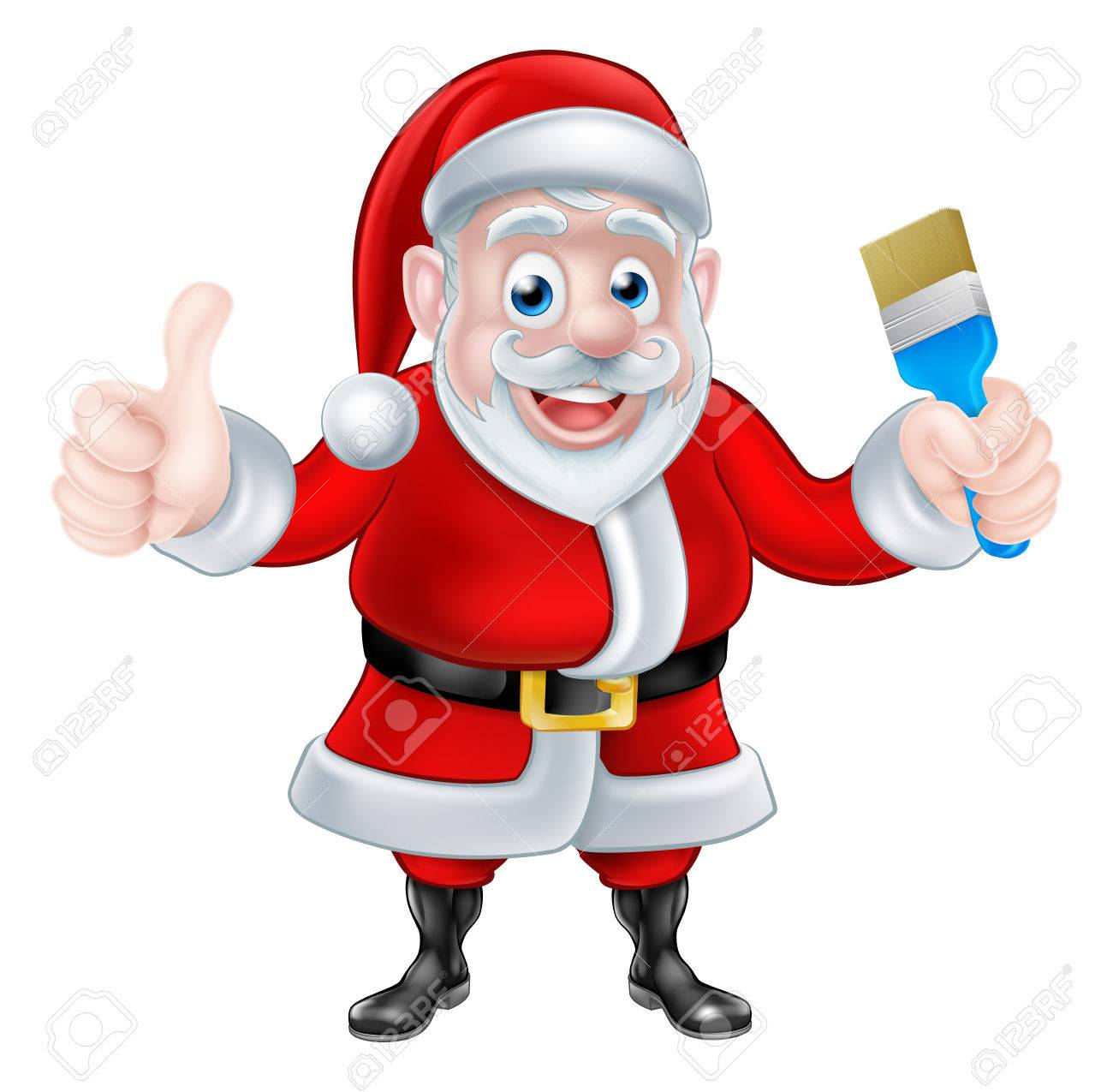 1300x1275 Christmas Cartoon Santa Claus Holding A Paint Brush And Giving