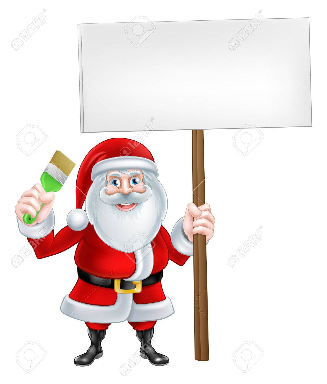 1109x1300 A Christmas Cartoon Illustration Of Santa Claus Holding A Paint
