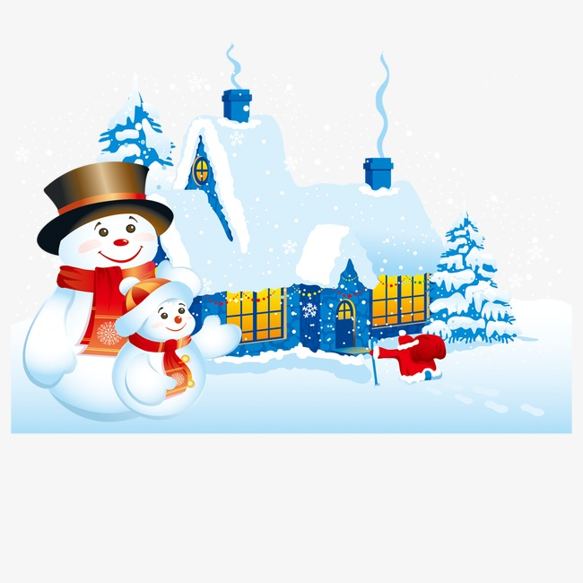 650x650 Cartoon Christmas House And Snowman, Christmas, Cartoon, Snowman