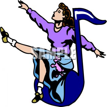 348x350 1950's Choir Girl Singing On A Music Note Clip Art