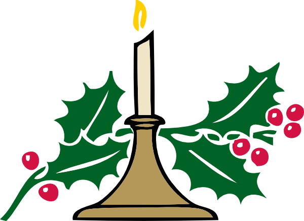 600x436 Christmas Candle Clip Art